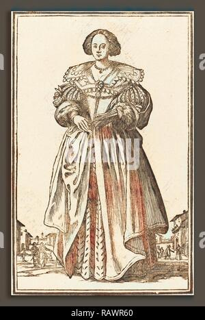 after Jacques Callot, Noble Woman with Fan, woodcut. Reimagined by Gibon. Classic art with a modern twist reimagined - Stock Photo