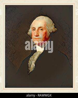 Gilbert Stuart, George Washington, American, 1755-1828, c. 1803-1805, oil on canvas. Reimagined by Gibon. Classic art reimagined - Stock Photo