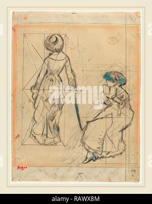 Edgar Degas, French (1834-1917), Study for 'Mary Cassatt at the Louvre: The Etruscan Gallery' [recto], c. 1879 reimagined - Stock Photo