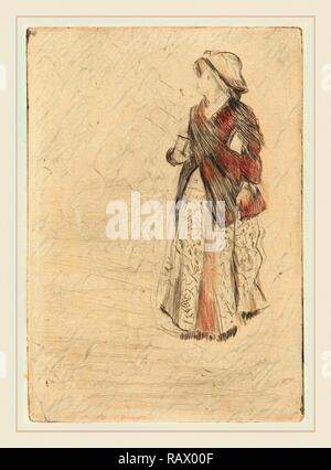 Edgar Degas, French (1834-1917), The Actress Ellen Andrée, 1879, drypoint (electric crayon). Reimagined - Stock Photo