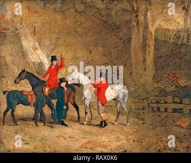 Foxhunting Scene Fox Hunting: Two Gentlemen with a Groom The Englington Brothers Signed and dated, lower left: 'B reimagined - Stock Photo