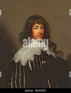 Portrait of a Man, probably Sir Francis Godolphin Sir Francis Godolphin Signed and dated, lower left: 'CJ Fecit reimagined - Stock Photo