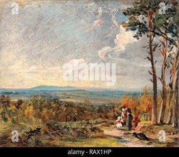Hampstead Heath, London, Looking Towards Harrow A View on Hampstead Heath with Figures in the Foreground, John reimagined - Stock Photo