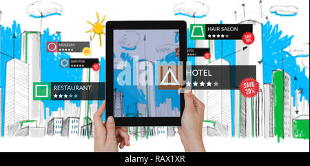 Composite image of tablet with applications - Stock Photo