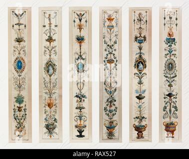 Six Painted Panels, Unknown, Paris, France, Europe, about 1780, Gouache on silk with gold paint, Various, see reimagined - Stock Photo