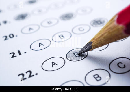 Answer sheets with Pencil drawing fill to select choice : education concept - Stock Photo