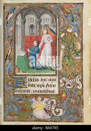 Charles the Bold Presented by an Angel, Lieven van Lathem, Flemish, about 1430 - 1493, active 1454 - 1493, Ghent ( reimagined - Stock Photo