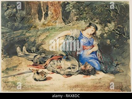 The Death of Lara, Eugène Delacroix, French, 1798 - 1863, about 1824, Watercolor with some bodycolor and some reimagined Stock Photo