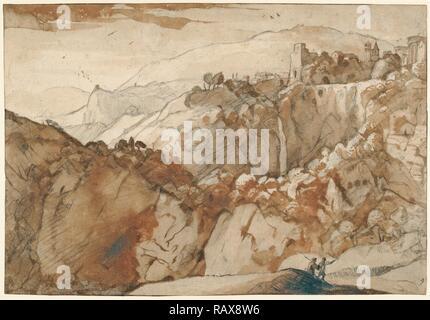 View of Tivoli (recto), View of Tivoli (verso), Claude Lorrain (Claude Gellée), French, 1604 or 1605 ? - 1682, France reimagined - Stock Photo