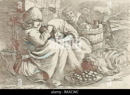 Old woman delouses a girl, Jan van Ossenbeeck, 1647 - 1674. Reimagined by Gibon. Classic art with a modern twist reimagined - Stock Photo