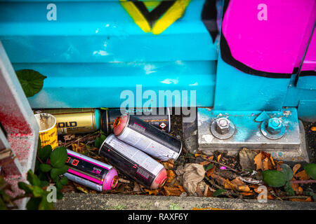 Used, empty, paint spray cans, on a noise barrier on the A40 motorway, food, graffiti pictures, spray, - Stock Photo