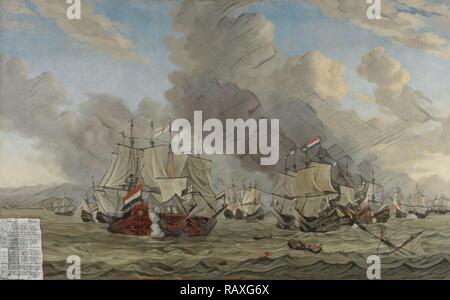 The Battle of Livorno, Reinier Nooms, 1653 - 1664. Reimagined by Gibon. Classic art with a modern twist reimagined - Stock Photo