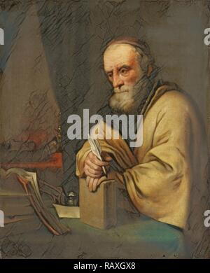 An old scholar, copy after Gottfried Kneller, 1645 - 1672. Reimagined by Gibon. Classic art with a modern twist reimagined - Stock Photo