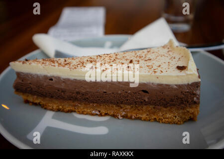 Very delicious breakfast chocolate cake, Zagreb, Croatia - Stock Photo