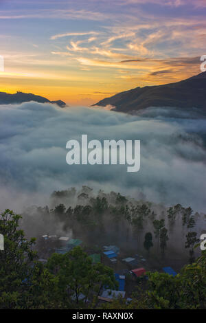 The view from Pousada Maubisse, in the mountains south of the capital Dili. - Stock Photo