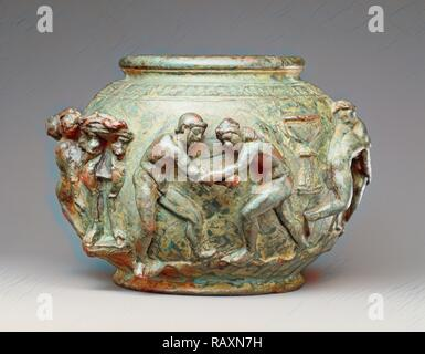 Situla with a Frieze of Athletic Contests, Unknown, Roman Empire, 75 - 100, Bronze, Object: H: 9.5 x Diam. (body): 14 reimagined - Stock Photo