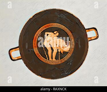 Attic Red-Figure Cup, Foundry Painter, Greek (Attic), active 500 - 470 B.C., Athens, Greece, Europe, about 470 B.C reimagined - Stock Photo
