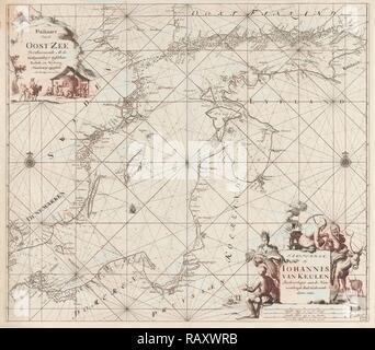 Sea chart of the Baltic Sea from Rostock to Vyborg, Jan Luyken, Johannes van Keulen (I), unknown, 1681 - 1799 reimagined - Stock Photo
