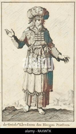 High Priest in liturgical clothing (version A), Jan Luyken, Willem Goeree, 1682. Reimagined by Gibon. Classic art reimagined - Stock Photo