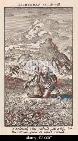 Gideon and the wet sheepskin, print maker: Jan Luyken, wed. Pieter Arentsz & Cornelis van der Sys II, 1712 reimagined - Stock Photo