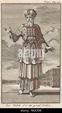 High Priest in liturgical clothing, Jan Luyken, Pieter Mortier, 1705. Reimagined by Gibon. Classic art with a modern reimagined - Stock Photo