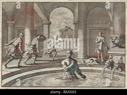 Armed enemies flee when they see Herod in bath after his victory over the army of Antigonus, Jan Luyken, Pieter reimagined - Stock Photo