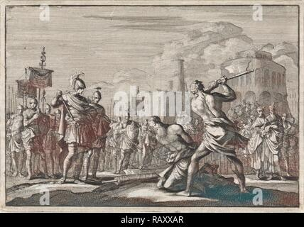 The beheading of Antigonus ordered by Anthony, Jan Luyken, Pieter Mortier, 1704. Reimagined by Gibon. Classic art reimagined - Stock Photo