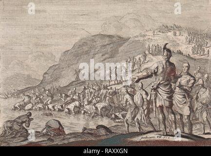 Gideon orders his men to drink water, Jan Luyken, Pieter Mortier, 1703 - 1762. Reimagined by Gibon. Classic art with reimagined - Stock Photo