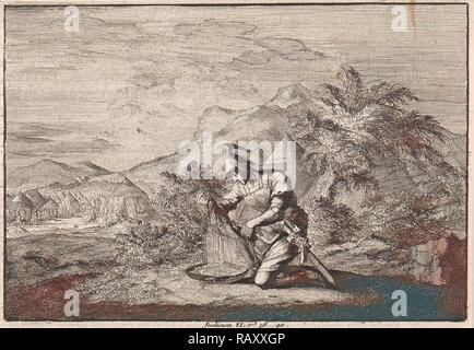 Gideon and the wet sheepskin, Jan Luyken, Pieter Mortier, 1703 - 1762. Reimagined by Gibon. Classic art with a modern reimagined - Stock Photo