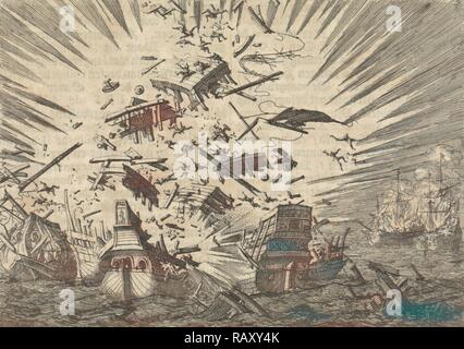 The Dutch ship 'Walcheren' explodes along with five Portuguese ships, 1631, Jan Luyken, Pieter van der Aa (I), 1698 reimagined - Stock Photo