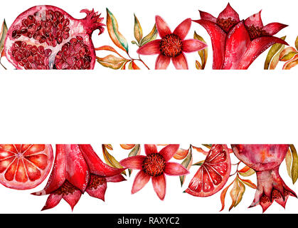 Cute colorful floral pomegranate frame, border on white ...