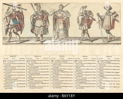 Count Floris XVII, Willem XVIII, Floris XIX, Jan XX and Jan XXI. Reimagined by Gibon. Classic art with a modern twist reimagined - Stock Photo