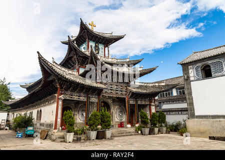 The catholic Church in Dali Old Town, Yunnan Province, China, is a unique construction which features bai traditional architectural style - Stock Photo