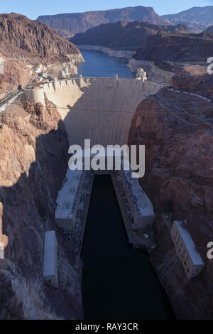Hoover Dam on the border between Nevada and Arizona seen from Memorial Bridge. Nevada, USA, November 2018. - Stock Photo