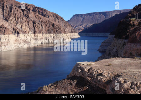 Lake Mead, Nevada, USA showing sad signs over overuse of water as well as a general drought (November 2018) - Stock Photo