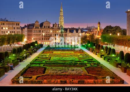 Garden of the Mont des Arts /Kunstberg , Brussels - Stock Photo