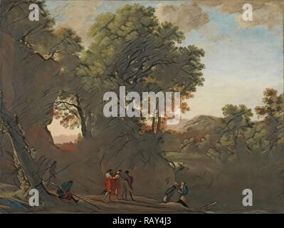 Landscape with the baptism of the eunuch, Herman van Swanevelt, 1630 - 1639. Reimagined by Gibon. Classic art with a reimagined - Stock Photo