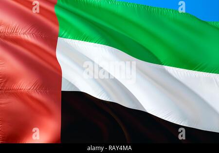 United Arab Emirates flag. 3D Waving flag design. The national symbol of United Arab Emirates, 3D rendering. National colors and National flag of Unit - Stock Photo