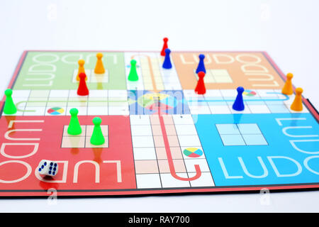 Picture of playing ludo game with dice. - Stock Photo