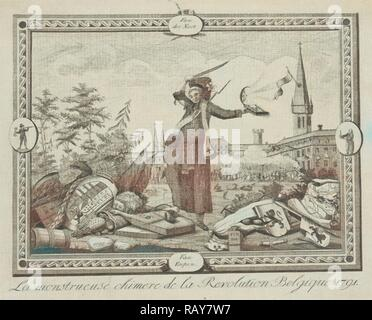 Allegory of the Brabant Revolution, 1791, Anonymous, 1790 - 1791. Reimagined by Gibon. Classic art with a modern reimagined - Stock Photo