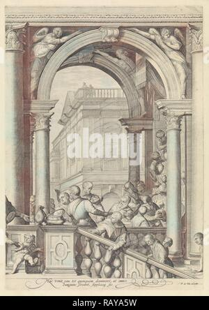 Christ at a meal in the house of Levi the Publican (plate 3), Jan Saenredam, Paolo Veronese, Frederik de Wit, 1639 reimagined - Stock Photo