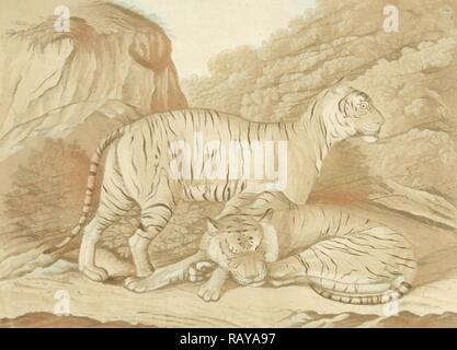 Two tigers in a landscape, Isaac van Haastert, c. 1768 - 1834. Reimagined by Gibon. Classic art with a modern twist reimagined - Stock Photo