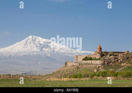 Khor Virap, Armenian orthodox religious complex with Mount Ararat in the background, in Artashat, Armenia. - Stock Photo