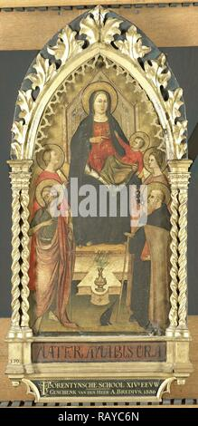 Virgin and Child Enthroned with Four Saints, Saints John the Baptist, Antony Abbot, Elizabeth of Hungary, a female reimagined - Stock Photo