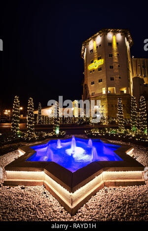 Hotels Christmas Decorations Night Roads Europa-Park Germany - Stock Photo