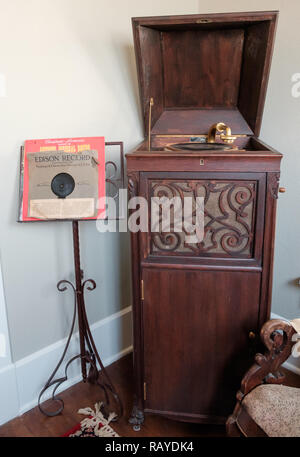 Antique Wooden Cabinet For Old Record Player With Hand Crank