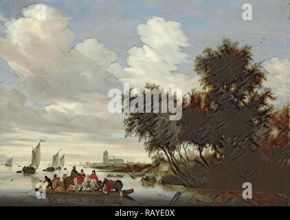 River Landscape with Ferry, Salomon van Ruysdael, 1649. Reimagined by Gibon. Classic art with a modern twist reimagined - Stock Photo