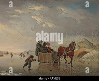 Winter Scene, Horse-Sleigh on the Ice, Andries Vermeulen, 1790 - 1814. Reimagined by Gibon. Classic art with a modern reimagined - Stock Photo