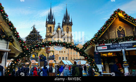 PRAGUE, CZECH REPUBLIC - DECEMBER 31, 2018: Christmas market in the old town square of Prague - Stock Photo