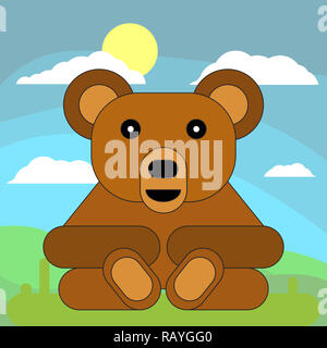 Teddy bear in cartoon flat style on the background of meadows, sun and clouds.  illustration on white background. - Stock Photo